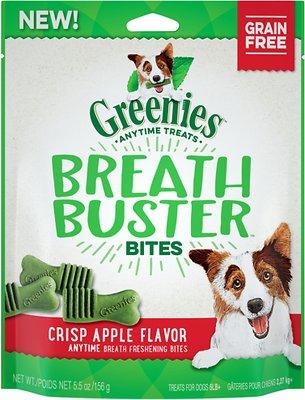 Greenies Breath Buster Bites Crisp Apple Flavor Grain-Free Dental Dog Treats, 5.5-oz bag