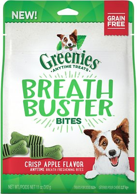 Greenies Breath Buster Bites Crisp Apple Flavor Grain-Free Dental Dog Treats, 11-oz bag