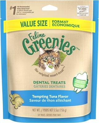 Feline Greenies Dental Treats Tempting Tuna Flavor Cat Treats, 5.5-oz bag