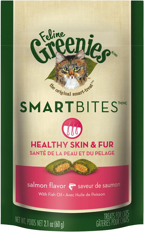 Feline Greenies SmartBites Healthy Skin & Fur Salmon Flavor Cat Treats, 2.1-oz bag