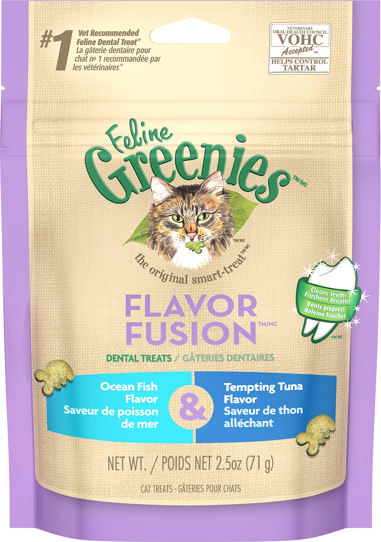 Feline Greenies Dental Treats Flavor Fusion Ocean Fish & Tempting Tuna Flavor Cat Treats, 2.5-oz bag