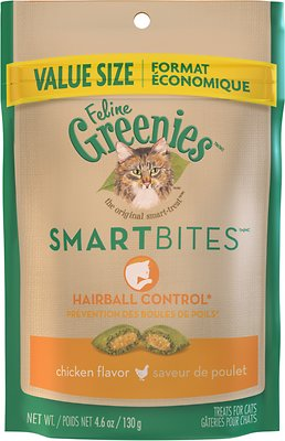 Feline Greenies SmartBites Hairball Control Chicken Flavor Cat Treats, 4.6-oz bag