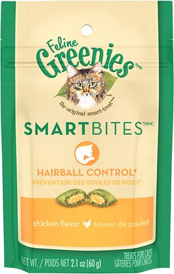Feline Greenies SmartBites Hairball Control Chicken Flavor Cat Treats, 2.1-oz bag