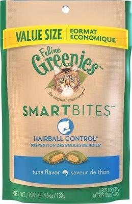 Feline Greenies SmartBites Hairball Control Tuna Flavor Cat Treats, 4.6-oz bag