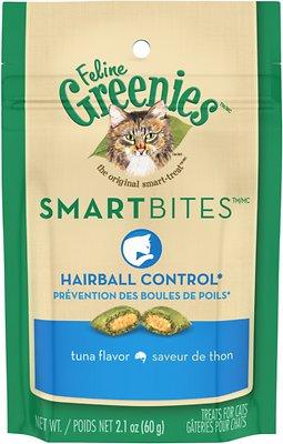 Feline Greenies SmartBites Hairball Control Tuna Flavor Cat Treats, 2.1-oz bag