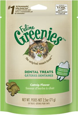 Feline Greenies Dental Treats Catnip Flavor Cat Treats, 2.1-oz bag