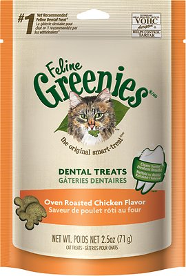 Feline Greenies Dental Treats Oven Roasted Chicken Flavor Cat Treats, 4.6-oz bag