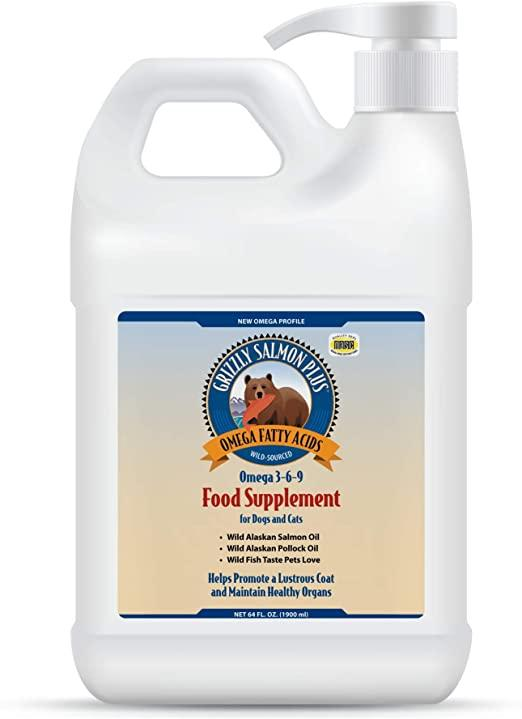 Grizzly Salmon Plus Food Supplement for Dogs & Cats, 64-oz bottle
