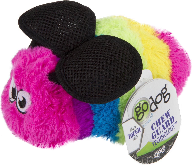 GoDog Bugs Bee Chew Guard Plush Squeaker Dog Toy, Purple, Large