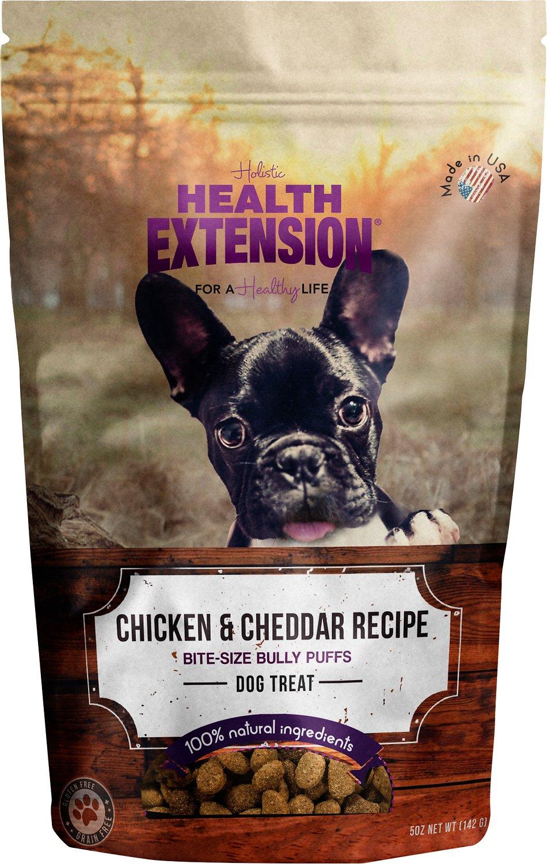 Health Extension Grain-Free Bully Puffs Chicken & Cheddar Cheese Dog Treats, 5-oz