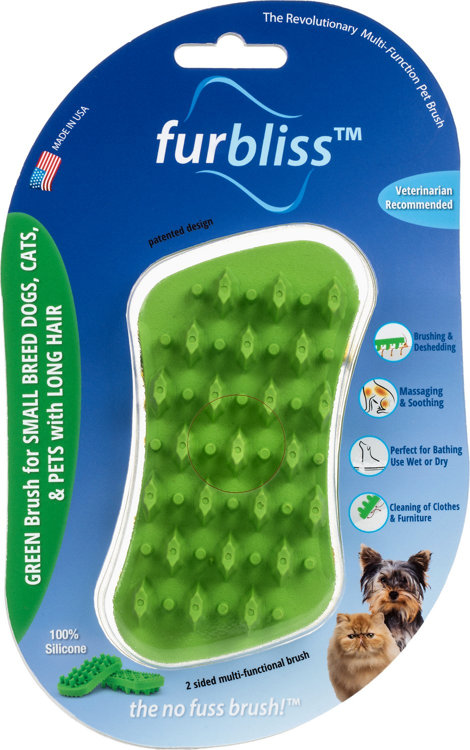 Furbliss Long Hair Dog, Cat & Small Animal Brush, Green