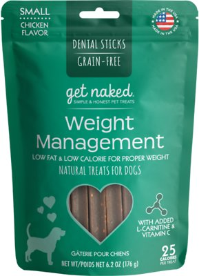 Get Naked Weight Management Dental Chew Sticks Grain-Free Dog Treats, Small