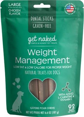 Get Naked Weight Management Dental Chew Sticks Grain-Free Dog Treats, Large