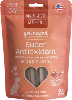 Get Naked Super Antioxidant Dental Chew Sticks Dog Treats, Large
