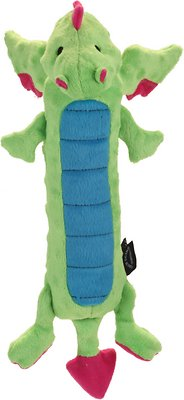 GoDog Dragons Skinny Chew Guard Dog Toy, Green, Large