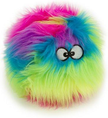 GoDog Furballz Chew Guard Dog Toy, Rainbow, Small