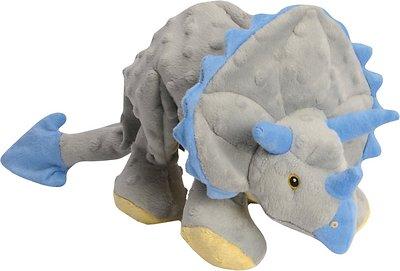 GoDog Dinos Chew Guard Frills Triceratops Dog Toy, Gray, Large