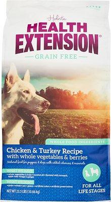 Health Extension Grain-Free Chicken & Turkey Recipe Dry Dog Food, 23.5-lb