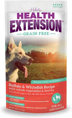 Health Extension Grain-Free Buffalo, Whitefish & Chickpea Formula Dry Dog Food, 4-lb
