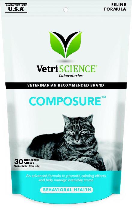 VetriScience Composure Behavioral Health Bite-Sized Cat Chews, 30 count