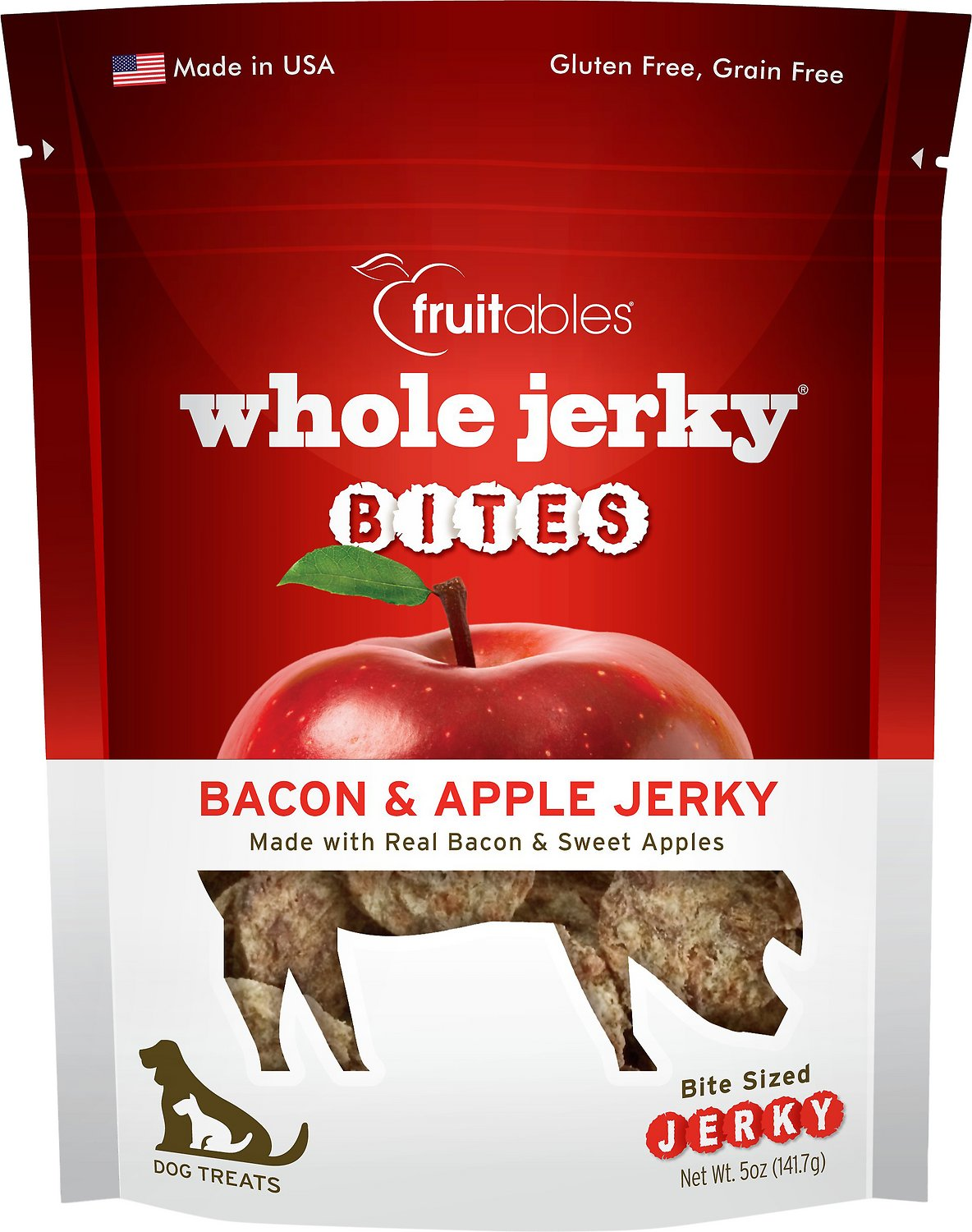 Fruitables Whole Jerky Bites Bacon & Apple Dog Treats, 5-oz bag