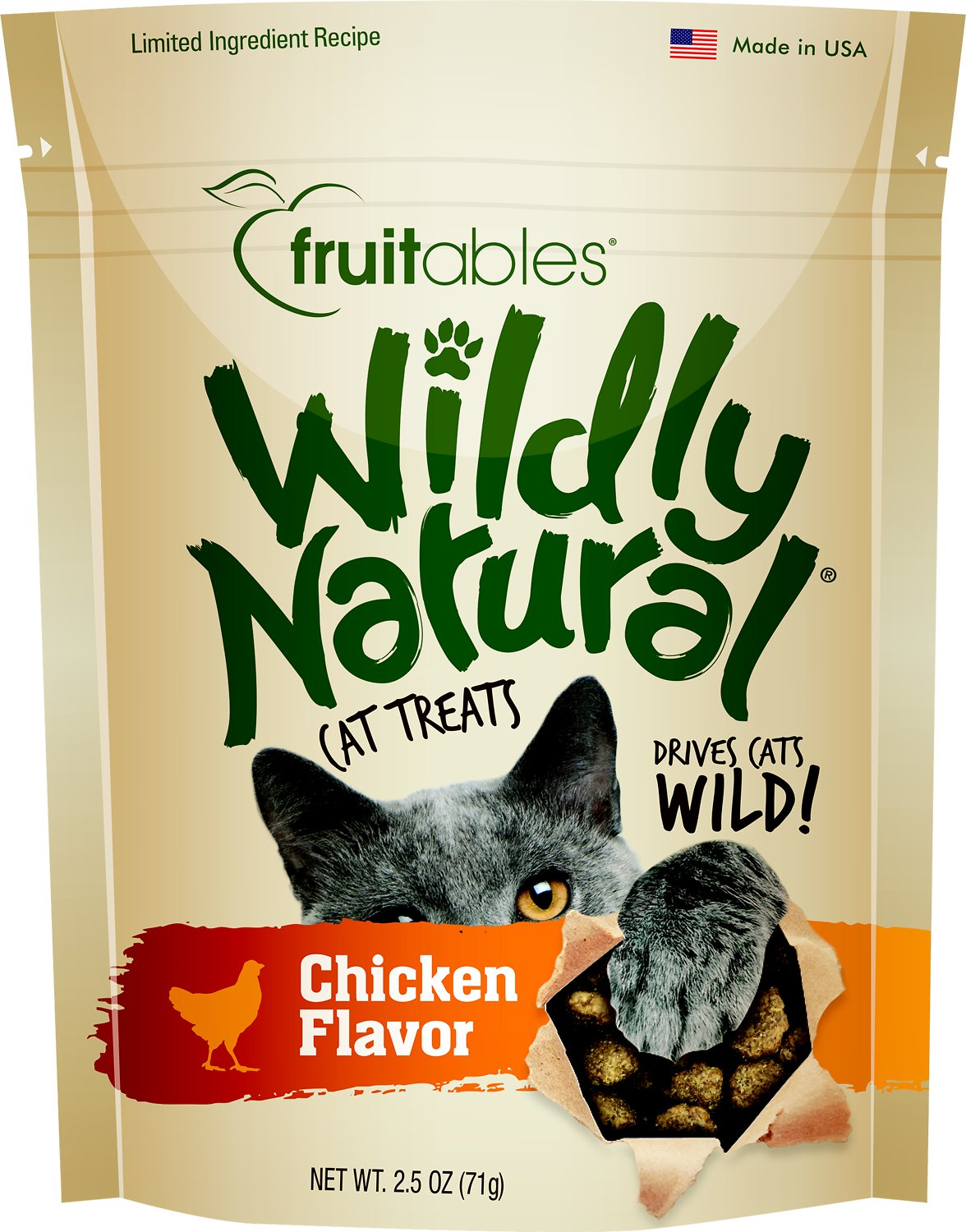 Fruitables Wildly Natural Chicken Flavor Cat Treats, 2.5-oz bag