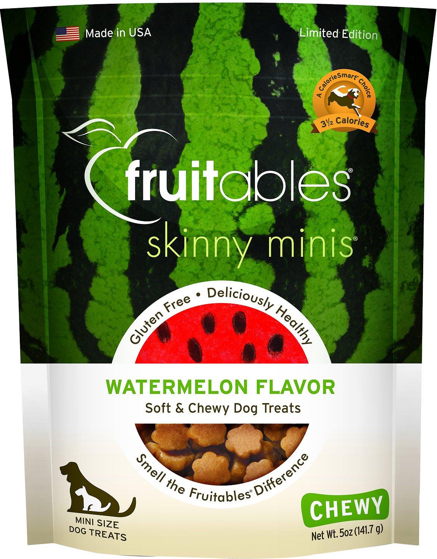 Fruitables Skinny Minis Watermelon Flavor Soft & Chewy Dog Treats, 5-oz bag Image