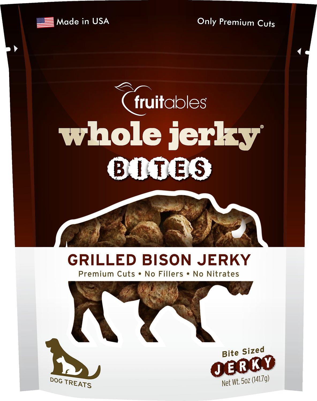 Fruitables Whole Jerky Bites Grilled Bison Dog Treats, 5-oz bag (Weights: 4.96ounces) Image