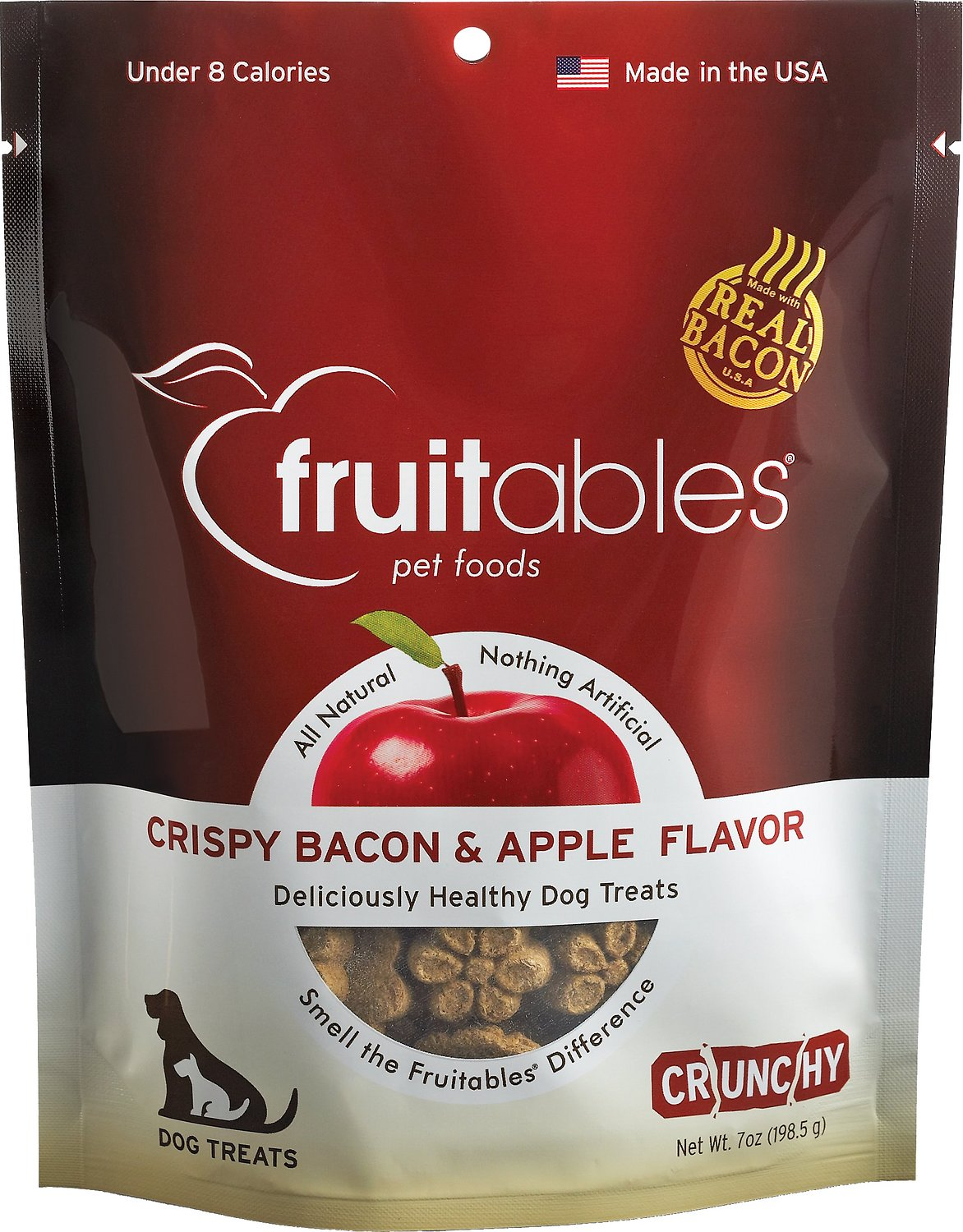 Fruitables Crispy Bacon & Apple Flavor Crunchy Dog Treats, 7-oz bag Image