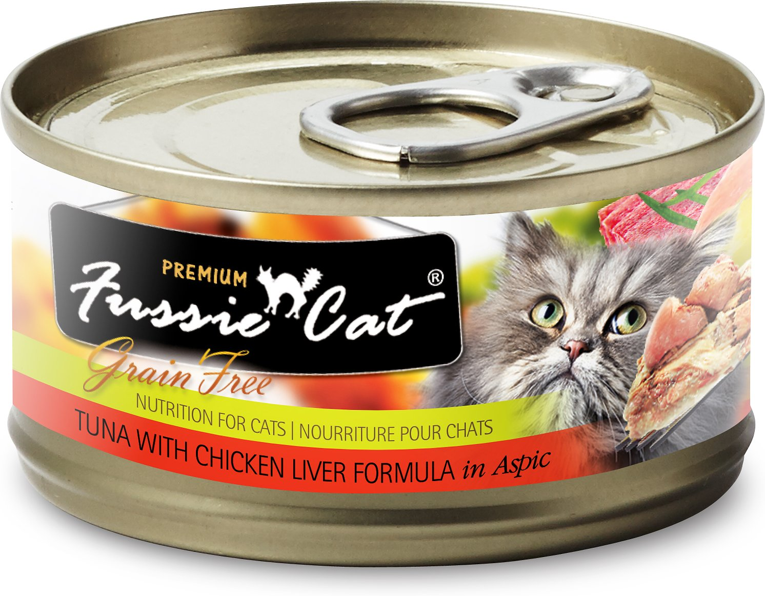 Fussie Cat Premium Tuna with Chicken Liver Formula in Aspic Grain-Free Canned Cat Food, 2.8-oz