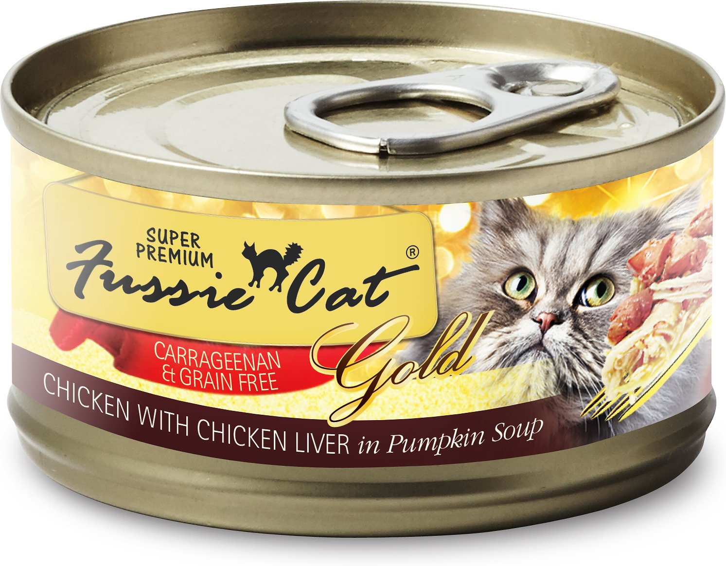 Fussie Cat Super Premium Chicken with Chicken Liver Formula in Pumpkin Soup Grain-Free Canned Cat Food, 2.8-oz