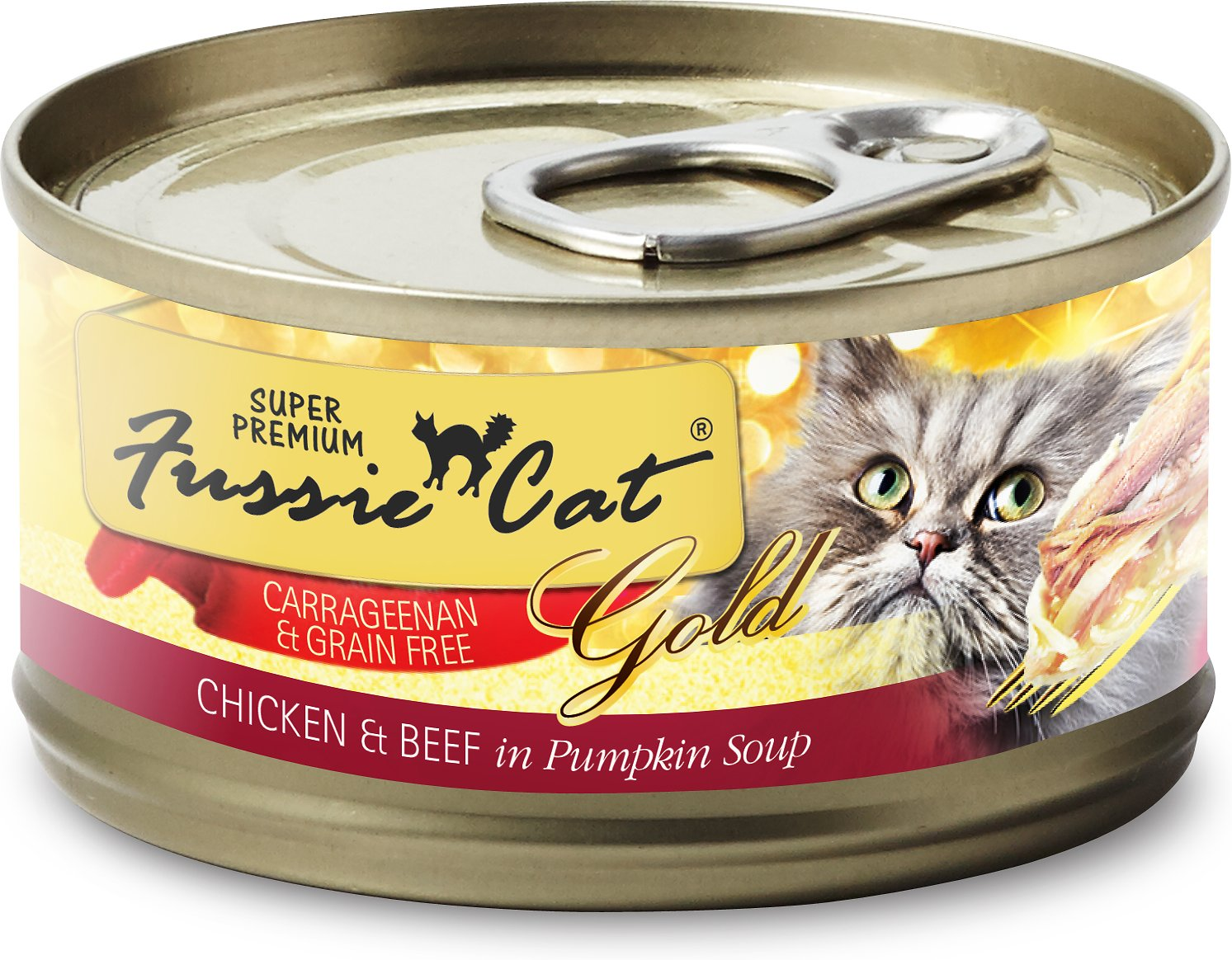 Fussie Cat Super Premium Chicken & Beef Formula in Pumpkin Soup Grain-Free Canned Cat Food, 2.8-oz