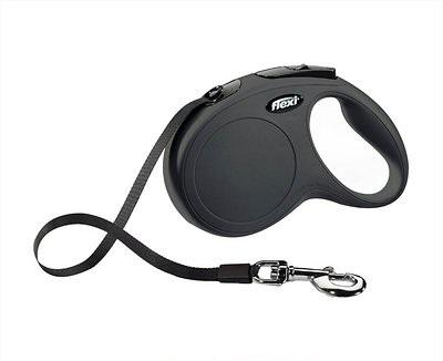 Flexi New Classic Retractable Tape Dog Leash, Black, Small, 16-ft
