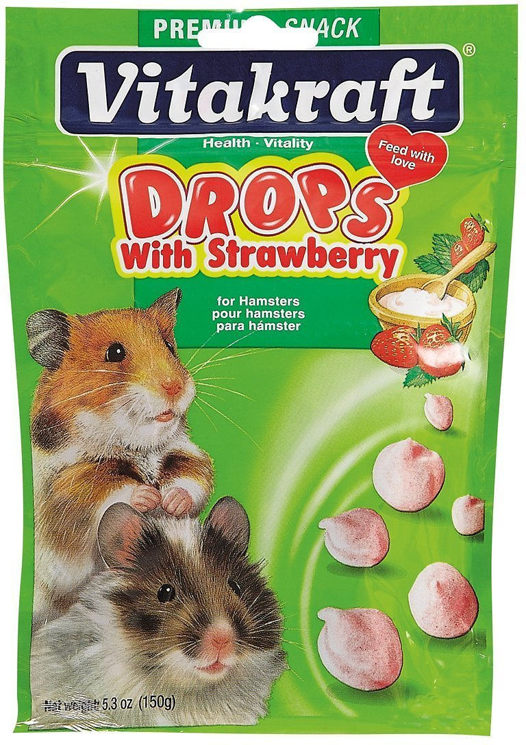 Vitakraft Drops with Strawberry Hamster Treats, 5.3-oz bag