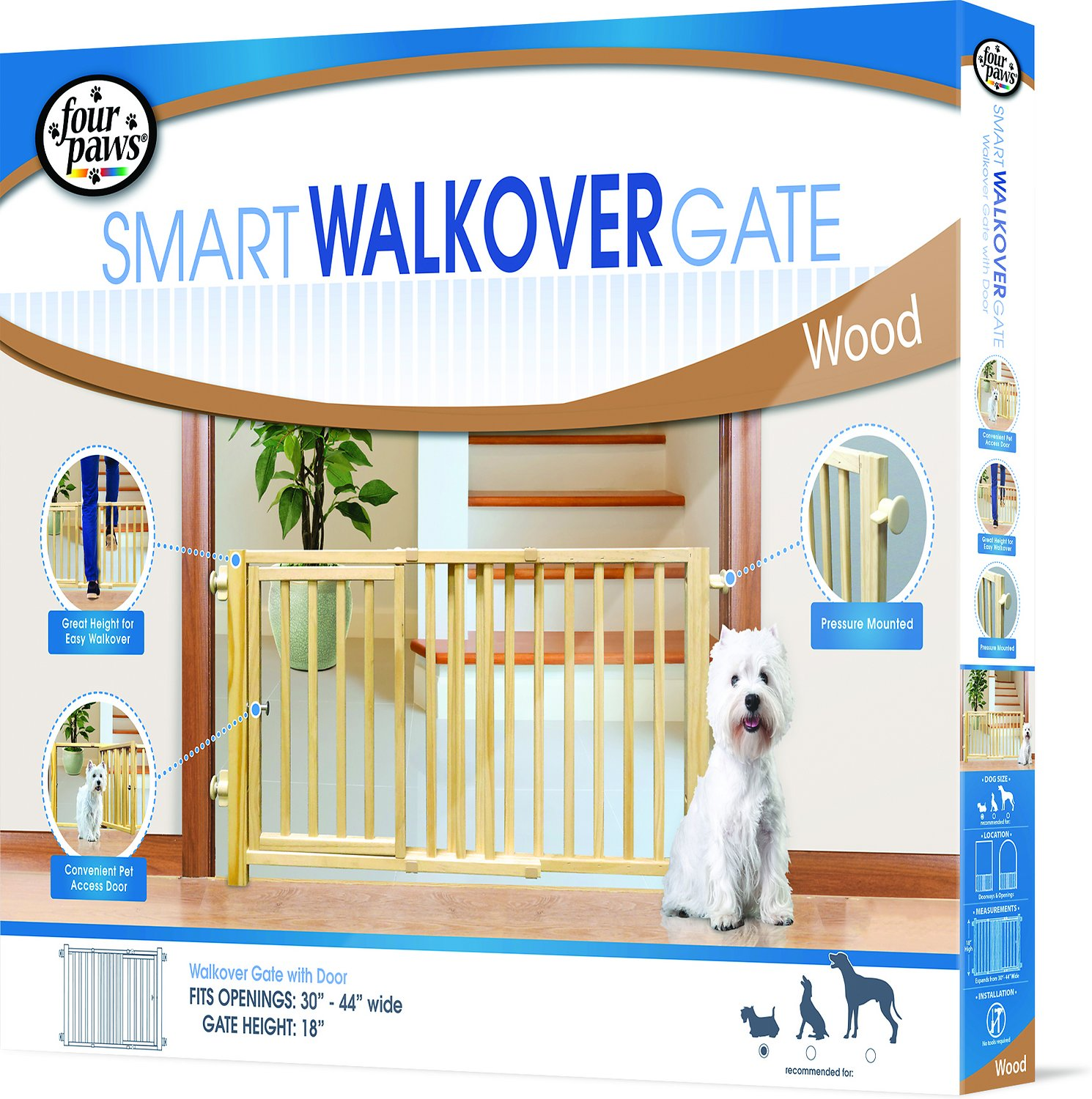 Four Paws Smart Walk-Over Wood Gate Image