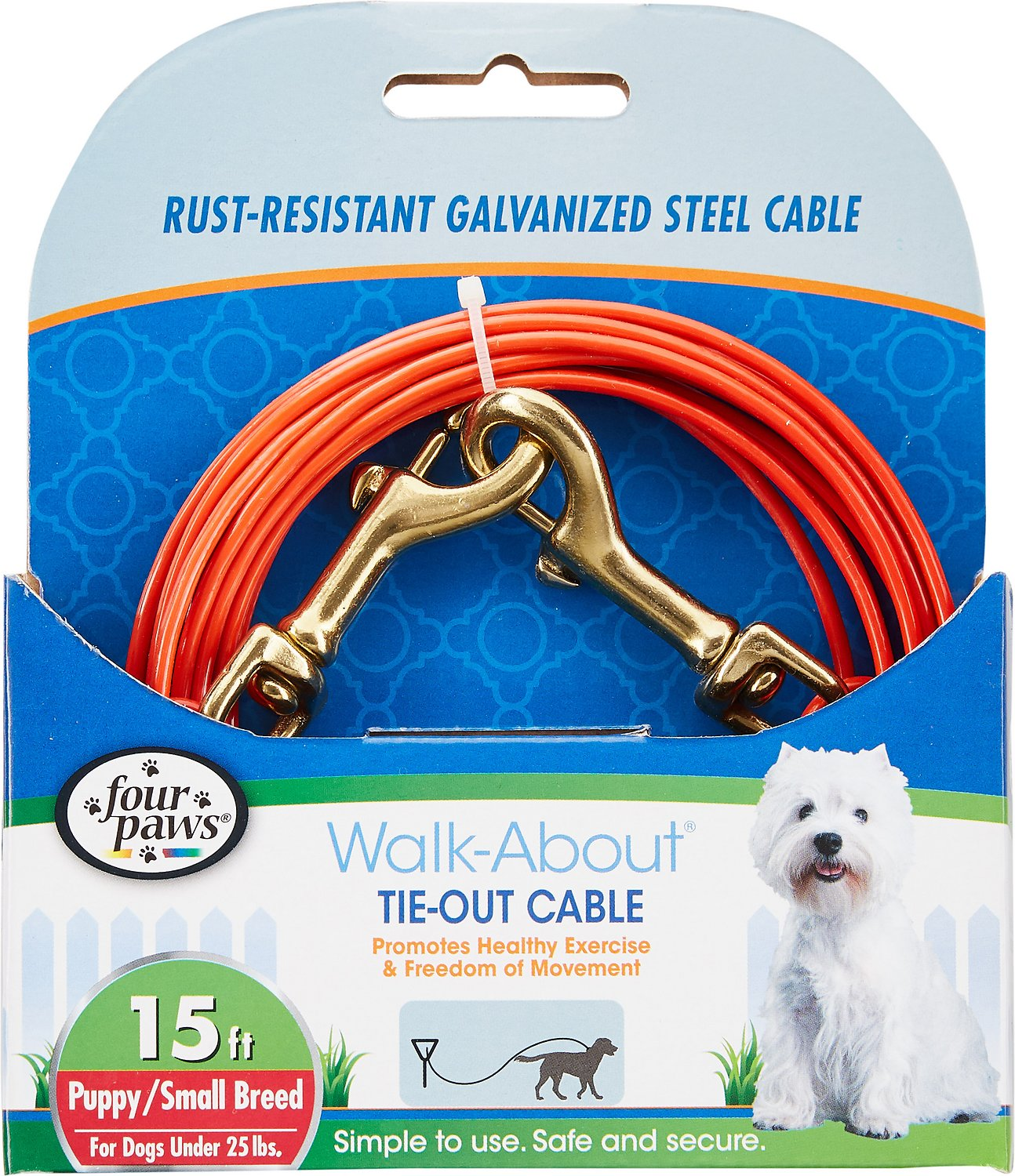 Four Paws Puppy Tie Out Cable, Orange, 15-ft Image