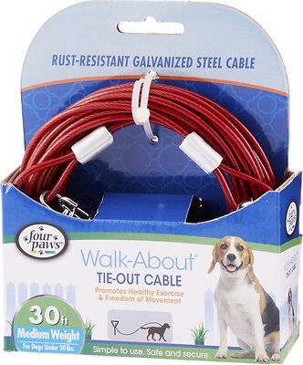Four Paws Medium Weight Tie Out Cable, 30-ft Size: 30-ft