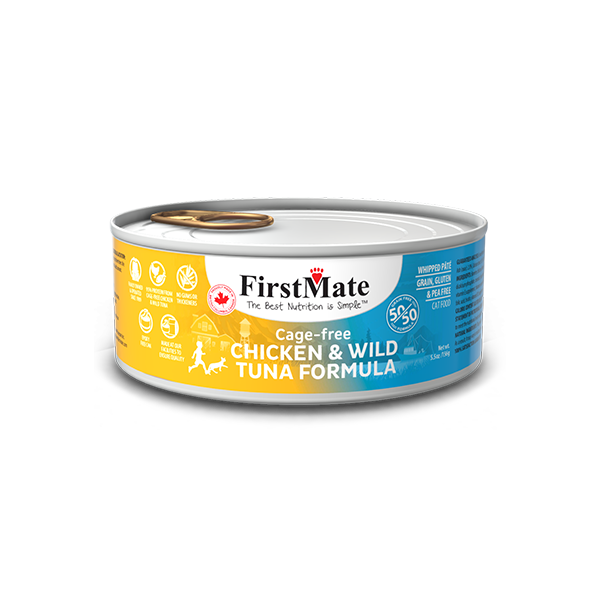 FirstMate 50/50 Chicken & Tuna Grain-Free Canned Cat Food, 5.5-oz