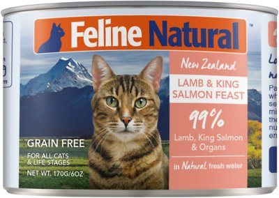 Feline Natural Lamb & Salmon Feast Grain-Free Canned Cat Food, 6-oz, case of 24