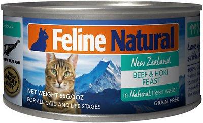 Feline Natural Beef & Hoki Feast Grain-Free Canned Cat Food, 3-oz, case of 24