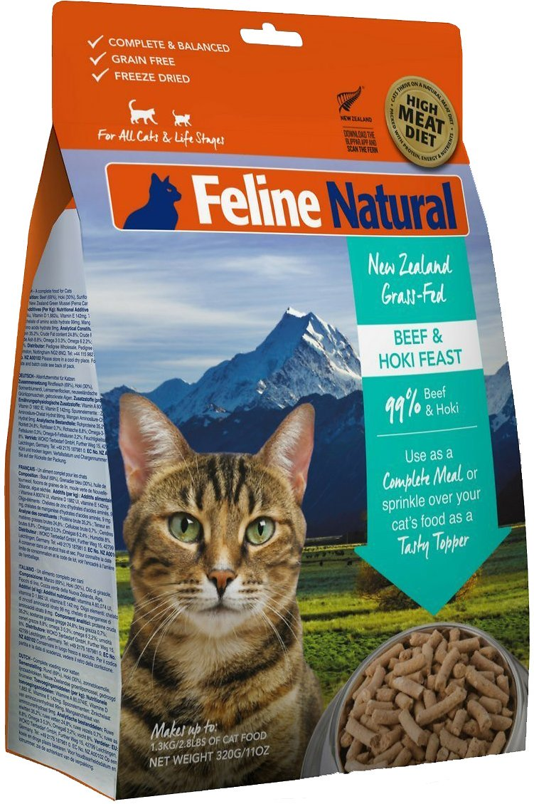 Feline Natural Beef & Hoki Feast Grain-Free Freeze-Dried Cat Food & Topper, 11-oz bag