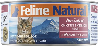 Feline Natural Chicken & Venison Feast Grain-Free Canned Cat Food, 3-oz, case of 24