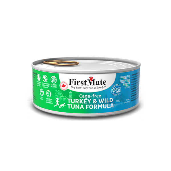 FirstMate 50/50 Turkey & Tuna Grain-Free Canned Cat Food, 5.5-oz