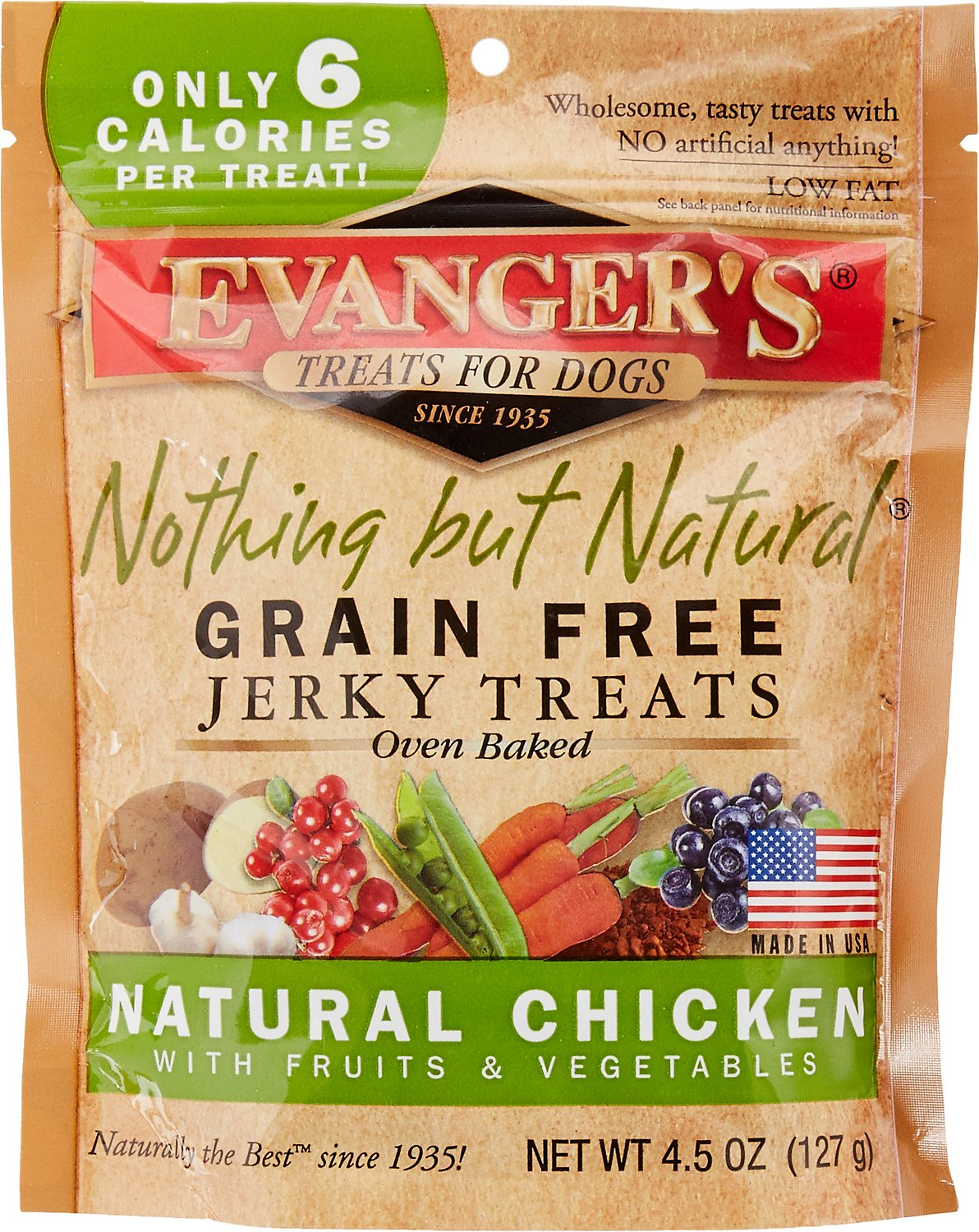 Evanger's Nothing But Natural Organic Chicken with Fruits & Vegetables Grain-Free Jerky Dog Treats, 4.5-oz bag