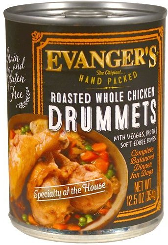 Evanger's Grain-Free Hand Packed Roasted Whole Chicken Drummets Dinner Canned Dog Food, 12-oz