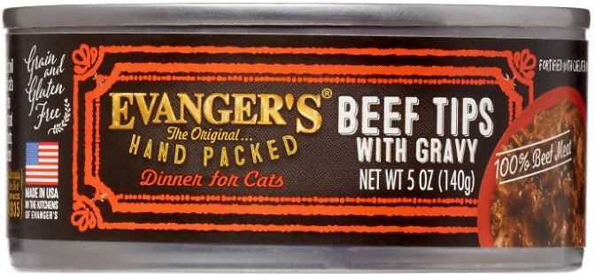 Evanger's Grain-Free Hand Packed Beef Tips with Gravy Canned Cat Food, 5-oz