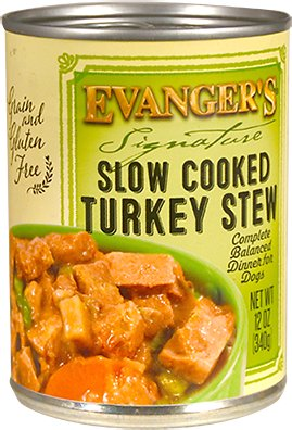 Evanger's Signature Series Slow Cooked Turkey Stew Grain-Free Canned Dog Food, 12-oz