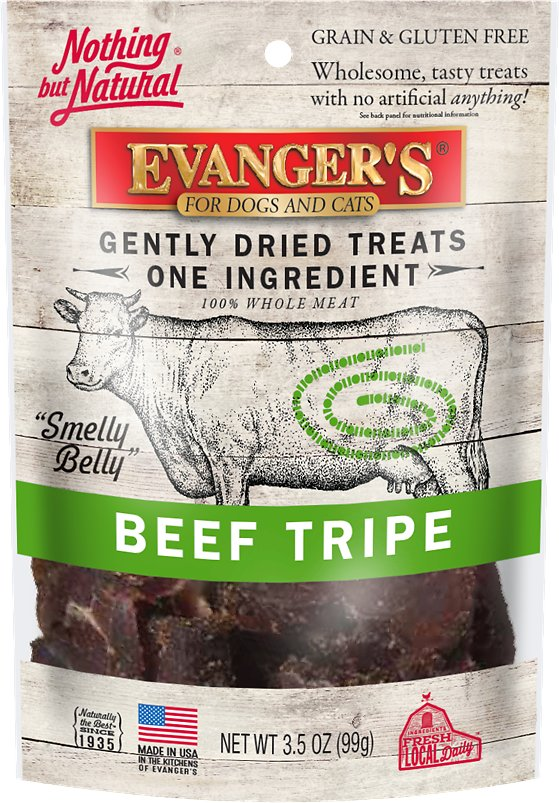 Evanger's Nothing but Natural Beef Tripe Gently Dried Dog & Cat Treats, 3.5-oz bag