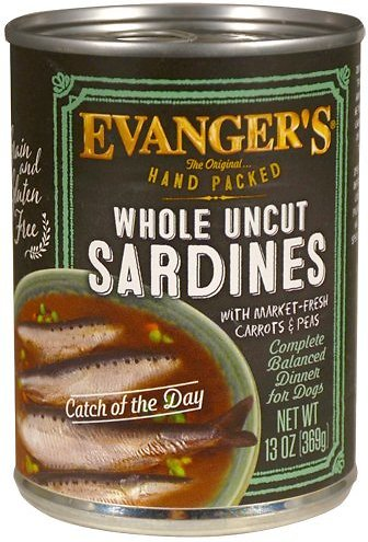 Evanger's Grain-Free Hand Packed Catch of the Day Sardine Canned Dog Food, 12-oz