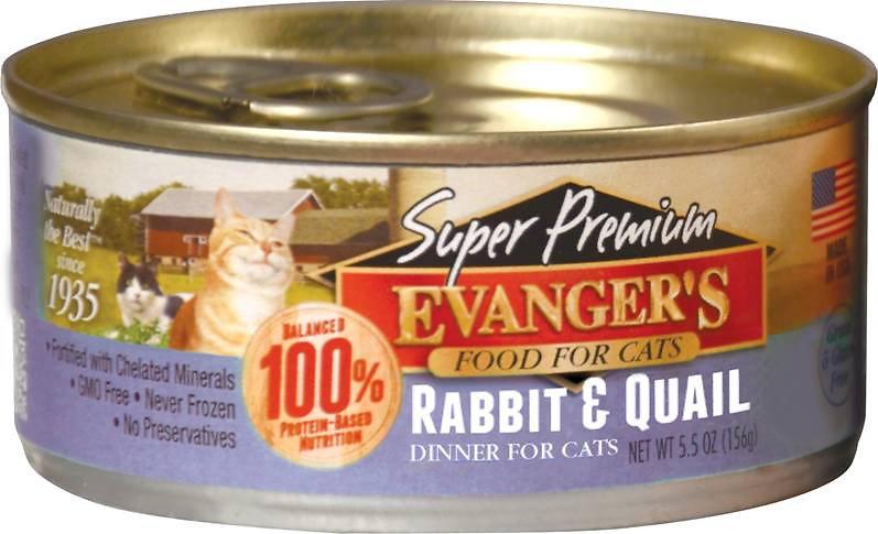 Evanger's Super Premium Rabbit & Quail Dinner Grain-Free Canned Cat Food, 5.5-oz